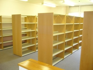 Empty shelves at Princess Marina Library
